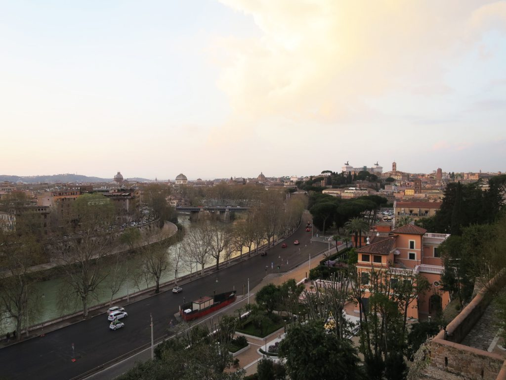 Beautiful view from the Giardino Degli Aranli of the River Tiber flowing through Rome.