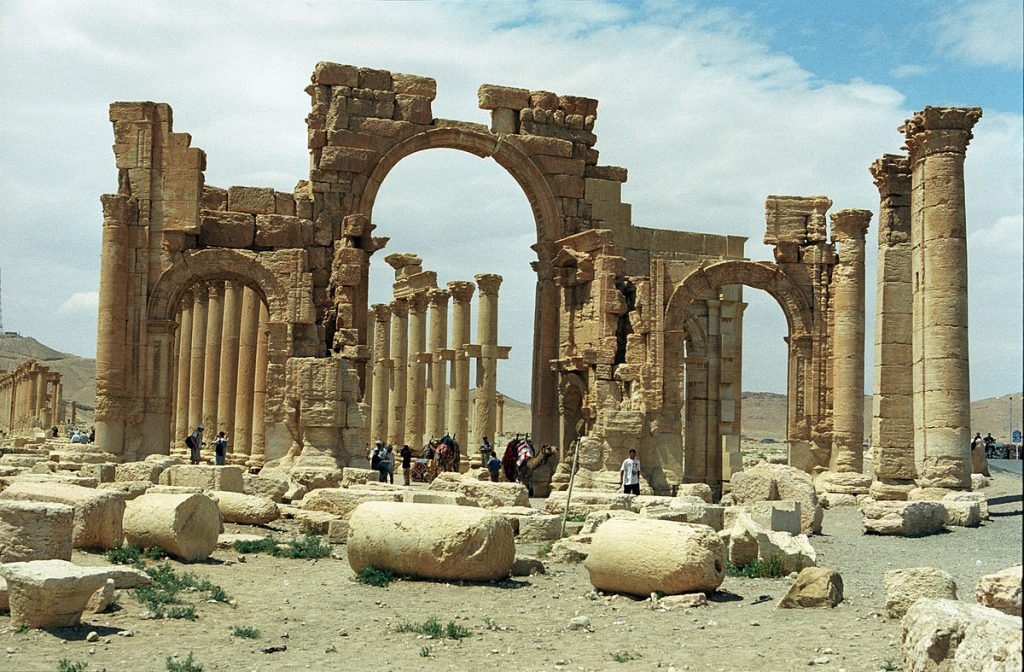 The Arch of Triumph in the eastern section of Palmyra's colonnade. It was destroyed by IS forces in 2015.
