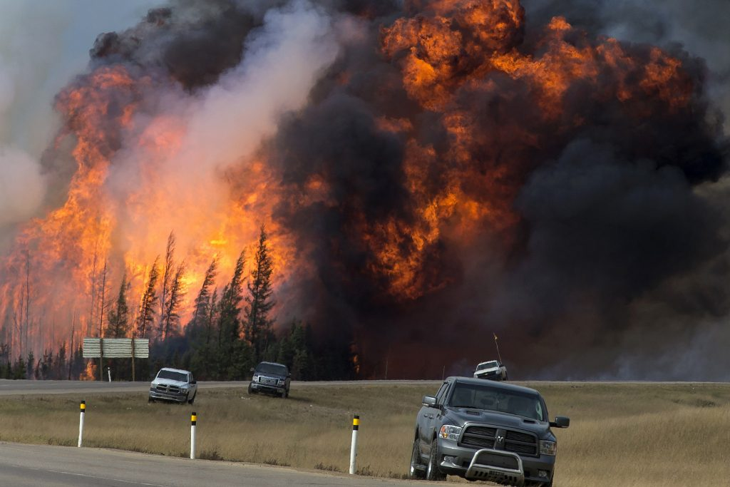 Flames engulf a forest south of Fort McMurray on May 7th.