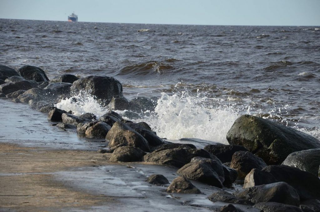 The waves crashing in from the Baltic Sea.
