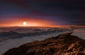 An artist's impression surface of Proxima b and Proxima Centauri. Image: ESO/M. Kornmesser (http://bit.ly/2darGkE)