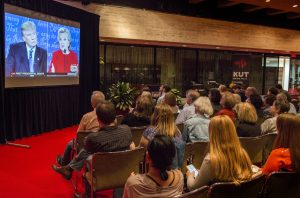 A crowd in Austin, Texas watching the first presidential debate