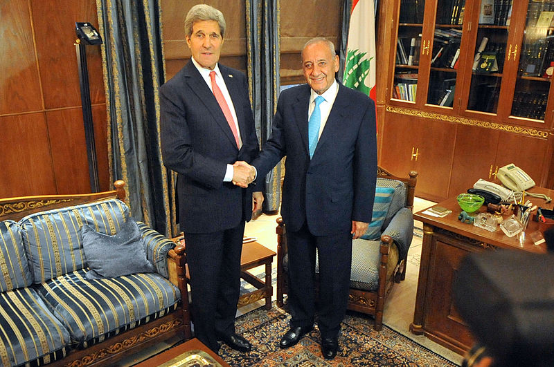 Berri (right), Speaker of the Parliament and preventer of Lebanon's very-own Kim Kardashian from ascending to the Presidency