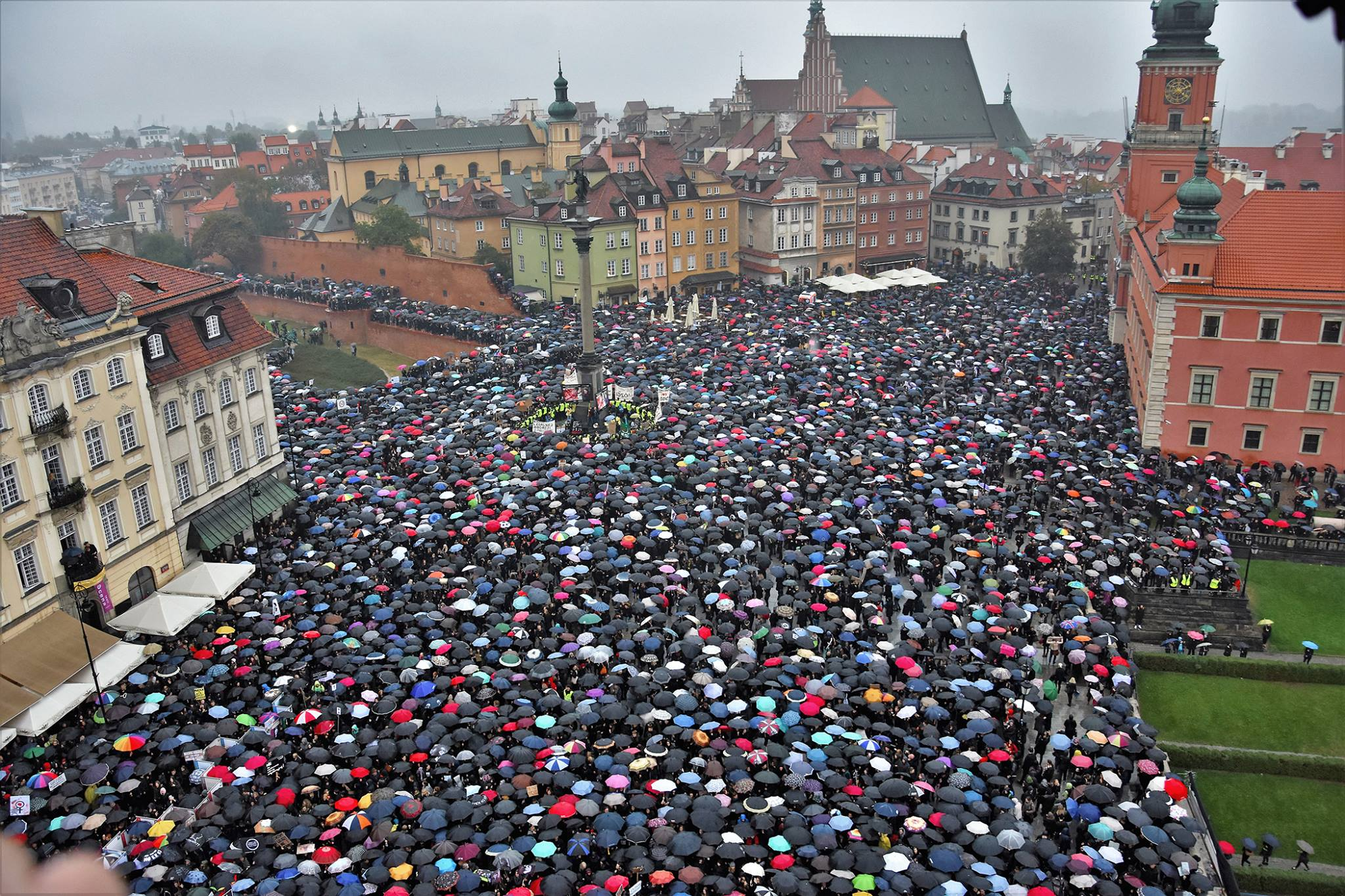 An image from the day of the abortion ban protest in Poland