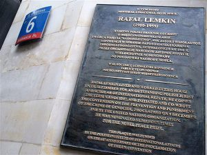 A plaque commemorating Lemkin in Warsaw, Poland
