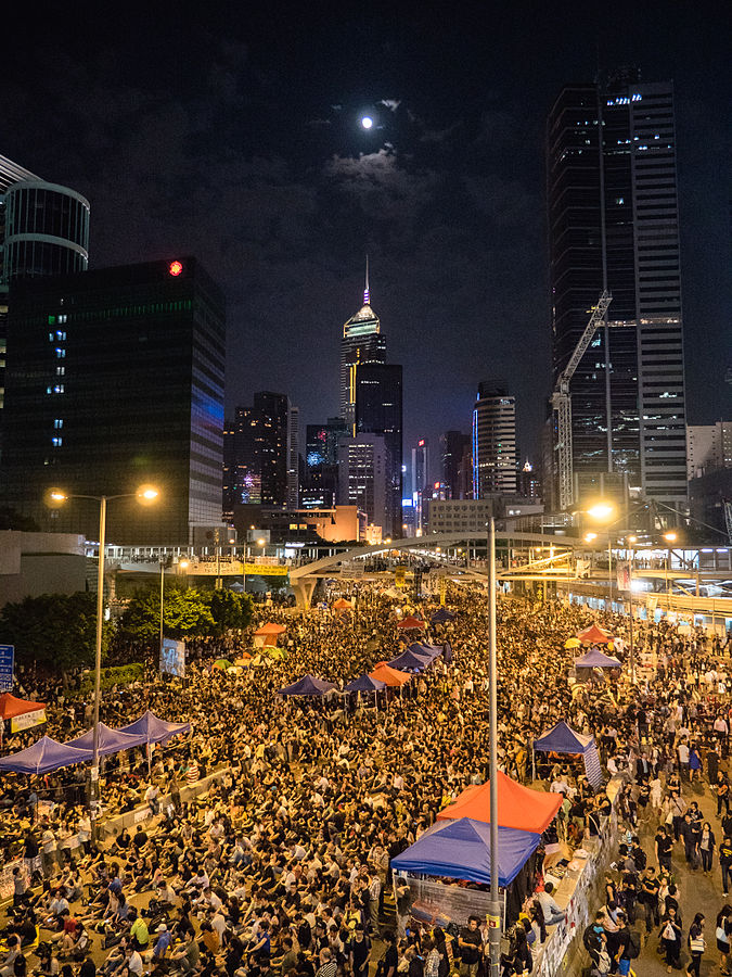 Umbrella Revolution in Hong Kong, 2014.