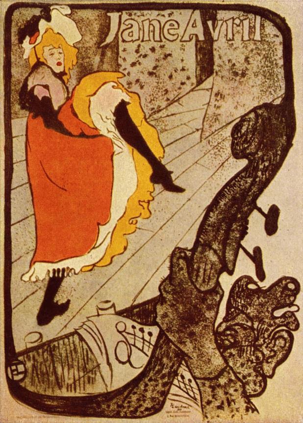 'Jane Avril',Henri de Toulouse Lautrec,1893. Wikimedia Commons