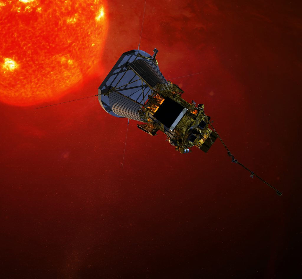 https://en.wikipedia.org/wiki/Parker_Solar_Probe#/media/File:Solar_Probe_Plus_spacecraft_on_approach_to_the_sun.jpg